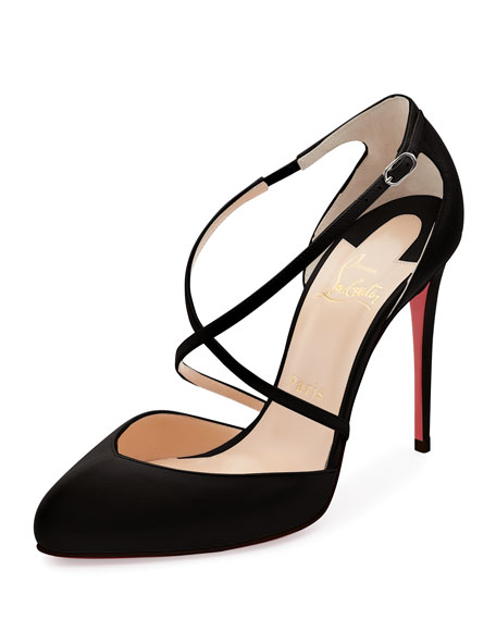 Christian Louboutin Crossbreche Leather Red Sole Pump, Latte