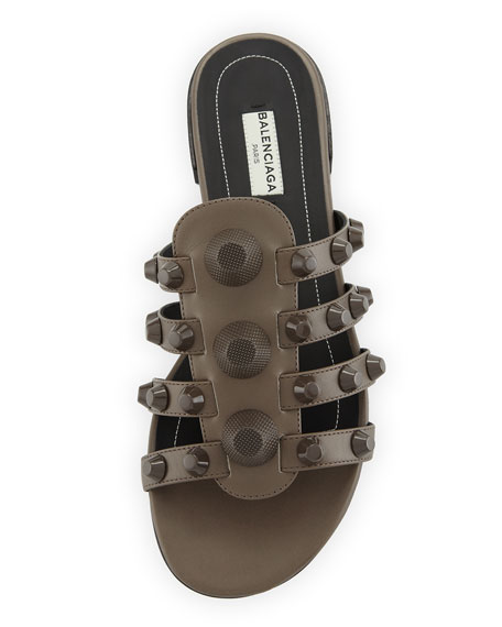 Studded Caged Flat Slide Sandal