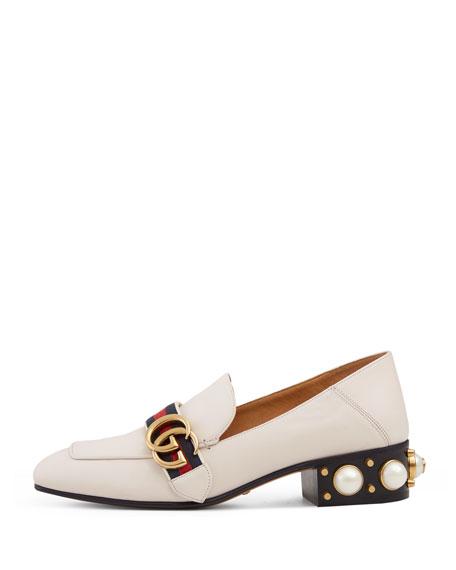 Peyton Pearly-Heel Loafer, White