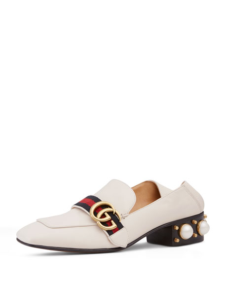 GUCCI Peyton Logo And Faux Pearl-Embellished Leather Collapsible-Heel  Pumps, White