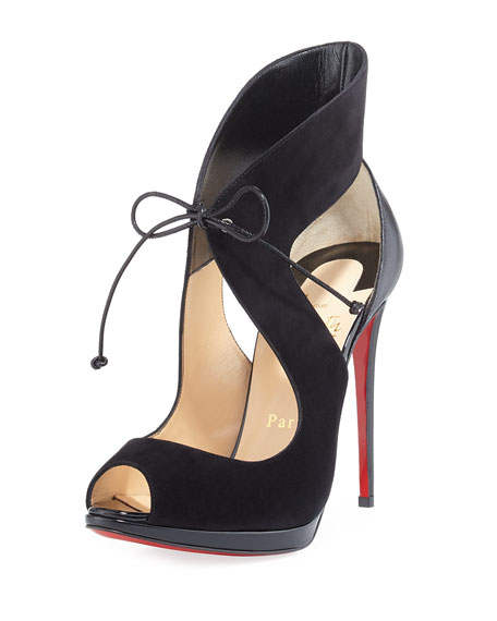 Campania Suede Tie-Front Red Sole Sandal, Black