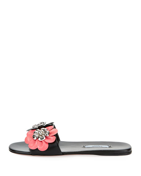 Floral-Embellished Leather Flat Slide