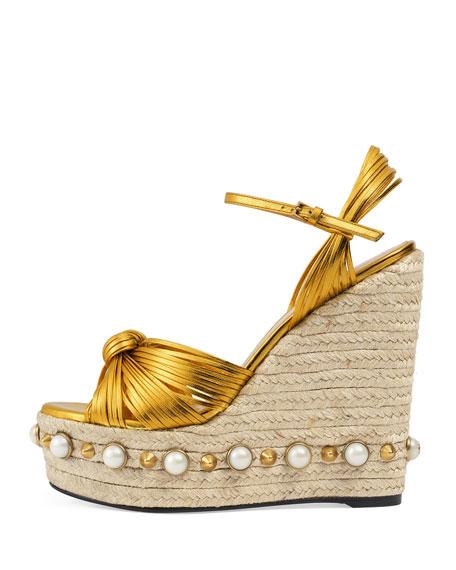 Barbette Knotted Espadrille Wedge Sandal, Gold