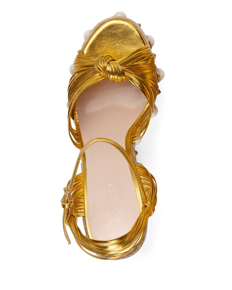 84335c838b40f Gucci Barbette Knotted Espadrille Wedge Sandal