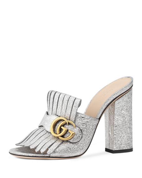 Marmont Metallic Mule Sandal, Silver