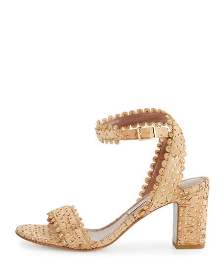 Leticia Scalloped Cork Sandals, Natural/Gold