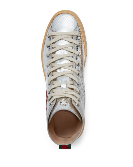 Flat Major High-Top Sneakers, Silver