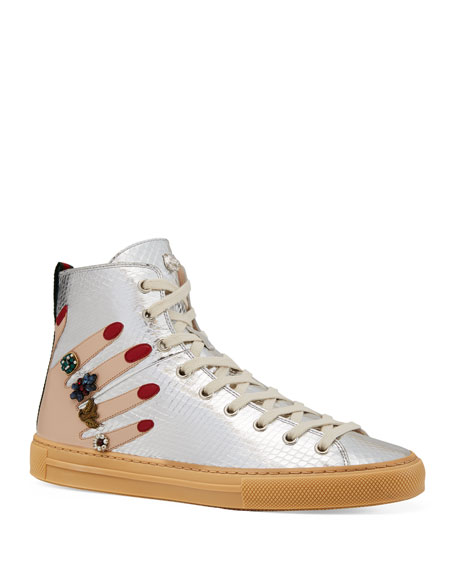 Gucci Flat Major High-Top Sneakers, Silver