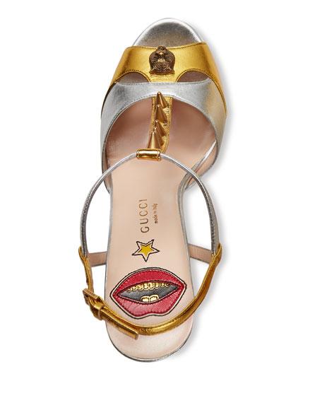 1b5e4ceb999 Gucci Angel Studded T-Strap Platform Sandal