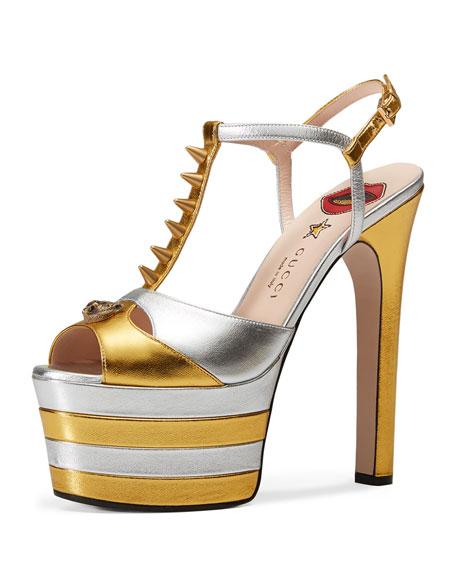 Gucci Angel Studded T-Strap Platform Sandal, Gold