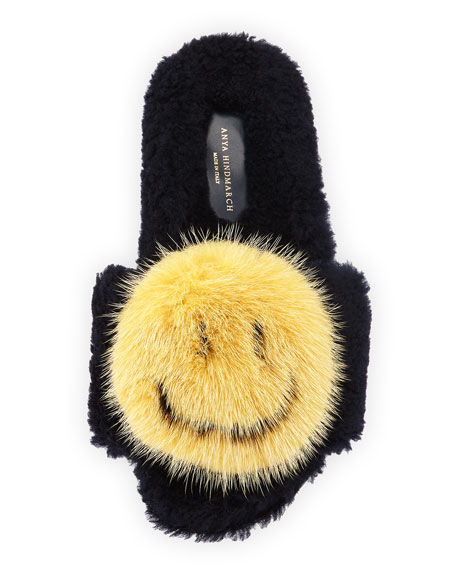 Flat Shearling Fur Slide w/Mink Fur Smiley, Blue