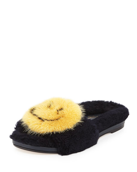 Anya Hindmarch Smiley shearling mules
