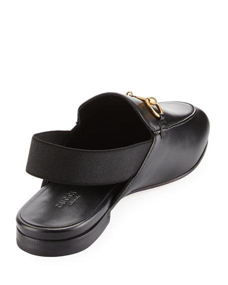 King's Leather Horsebit Slingback Slide, Black