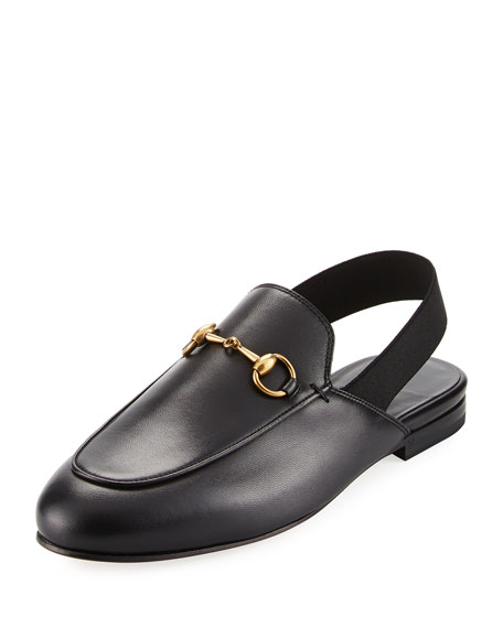 King's Leather Horsebit Slingback Slide, Black