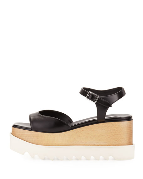 Faux-Leather Platform Creeper Sandal, Black