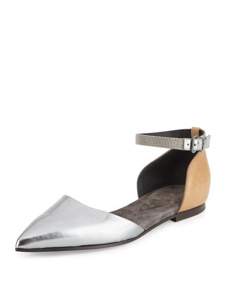 Monili Ankle-Wrap d'Orsay Flat, Silver