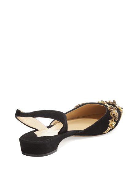 Rhea Suede d'Orsay Slingback Flat w/Metallic Flower Embellishments, Gold/Black