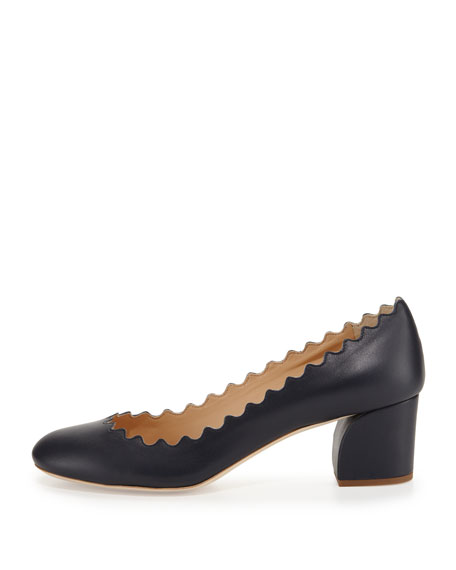 Scalloped Leather Block-Heel Pump, Navy