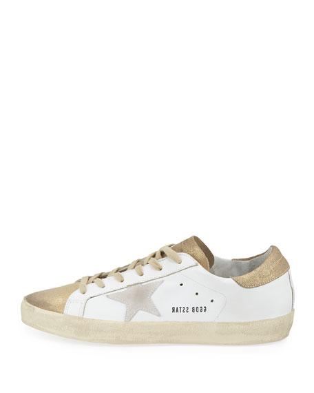 Superstar Metallic Low-Top Sneaker, White/Gold