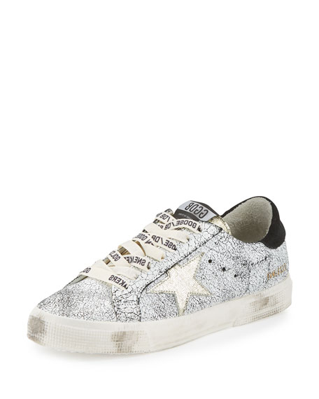 May Star Low-Top Sneaker, White Crackled/Gold