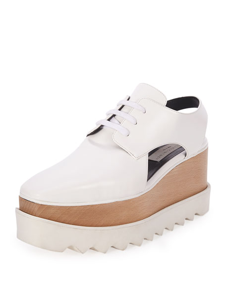 Stella McCartney Elyse Cutout Platform Oxford, White