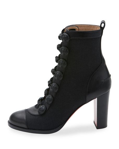 Who Dances Button 85mm Red Sole Bootie, Black