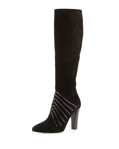 Saint Laurent Strass Suede 95mm Knee Boot, Black