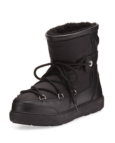 Moncler Fanny Shearling-Lined Ankle Boot, Black