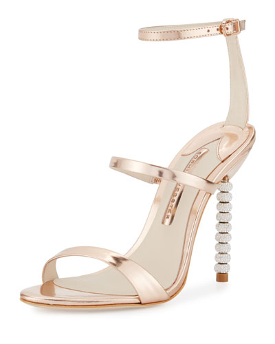 Rosalind Crystal-Heel Leather Sandals  Rose Gold