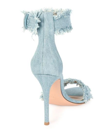Frayed Denim Sandal, Gray