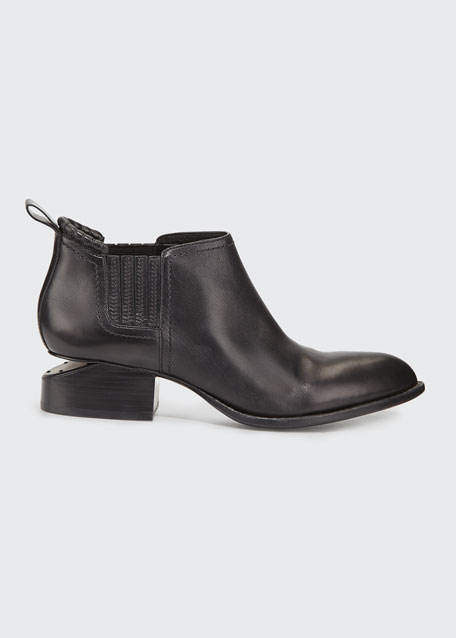 Alexander Wang Kori Leather Tilt-Heel Boots, Black