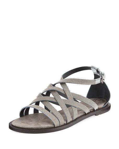 Brunello Cucinelli Monili Multi-Strap Flat Sandal, Silver