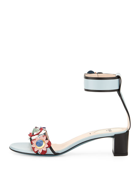 Flowerland Leather Ankle-Wrap Sandal, New Gray