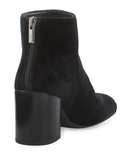 Bacari Velvet Chunky-Heel Bootie, Black
