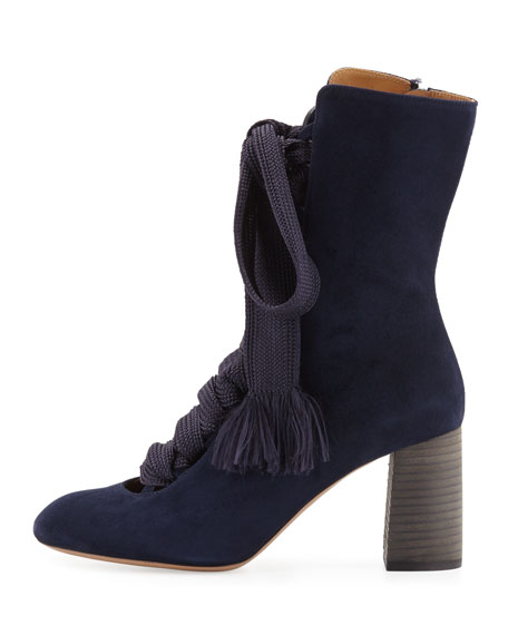 Harper Lace-Up 70mm Bootie, Blue Lagoon