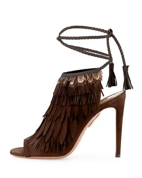 Fringed Suede Ankle-Tie Sandal