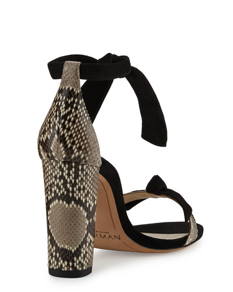 Python & Suede Ankle-Tie Sandal