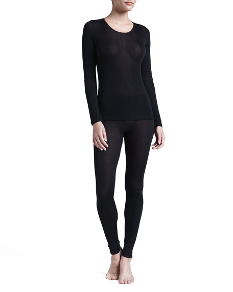 Silk Long-Sleeve Shirt, Black