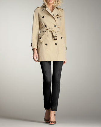 Gabardine Trenchcoat & Skinny Ankle-Zip Pants