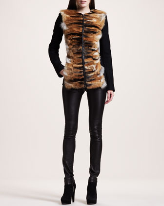 Chevron Fox-Front Jacket, Flannel Camisole & Stretch-Leather Motorcycle Leggings