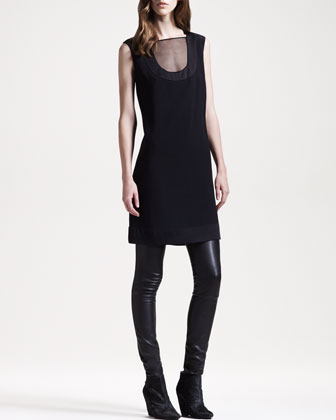 Crepe-Back Satin Dress & Stretch-Leather Motorcycle Leggings