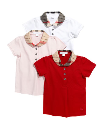 Check-Collar Short-Sleeve Polo