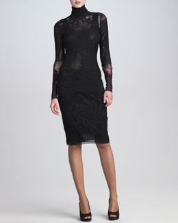 Jean Paul Gaultier Lace-Mesh Turtleneck Top & Lace Skirt