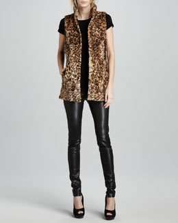 Alice + Olivia Ettie Faux-Fur Vest & Leather Leggings
