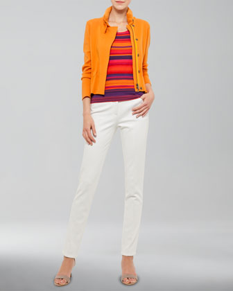 Front-Zip Knit Jacket, Striped Scoop-Neck Shell & Margaret Straight-Leg Jeans