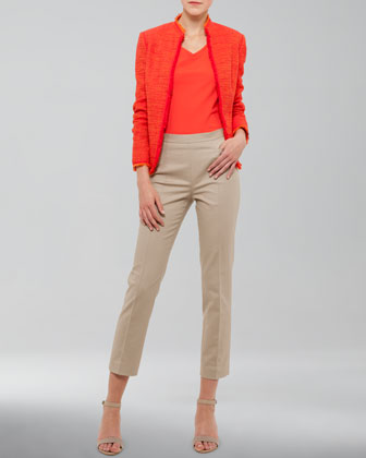 Fringe-Trimmed Tweed Jacket, V-Neck Back-Zip Shell & Franca High-Waist Cropped Pants
