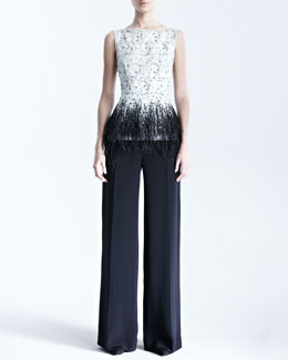 Carolina Herrera Sleeveless Lace Blouse & Silk Crepe Pants