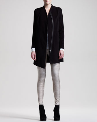 Stretch Moleskin Zip Coat, Kinetic Jersey Draped Top & Patina Leggings