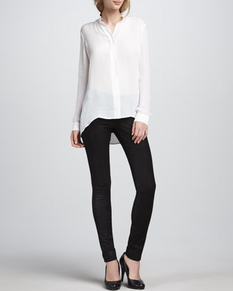 Silk Blouse & Textured Leather Jeans