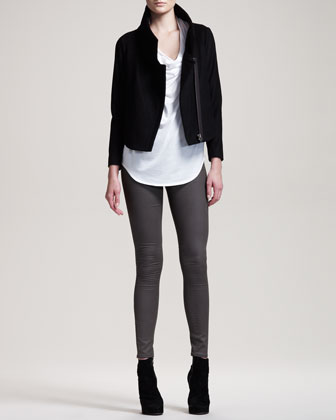 Vector Felt Biker Jacket, Feather Jersey Tee & Gloss-Wash Stretch Leggings